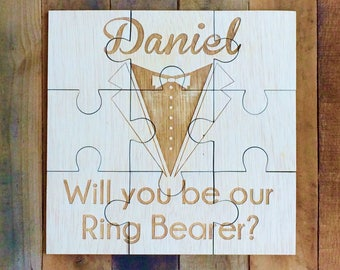 Personalized Boys Puzzle, Tuxedo Puzzle, Asking Ring Bearer Custom Wood Puzzle Boys Wedding Gift Ring Bearer Ideas Wedding Ring Bearer Gift