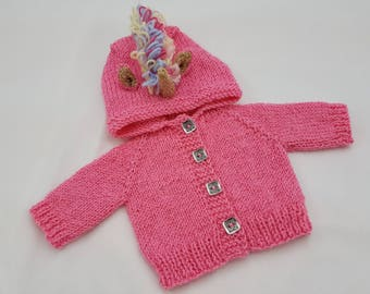 "Unicorn Waldorf Doll Hoodie / Sweater for 15"" Waldorf Doll / Unicorn / Rainbow main / Sparky Pink"