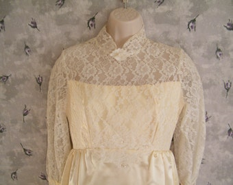 ON SALE Wedding Gown Size 8 Satin and Lace Dress Unknown Maker, tags removed vintage bridal dress, bust 32 waist 26 drastically reduced