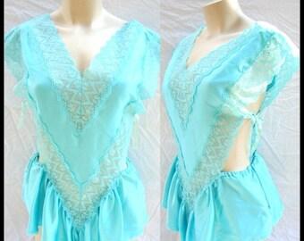 ON SALE Vintage Victoria Secret,  1970's,  lingerie, romper, teddy, nightie, made in USA, Ilgwu label,