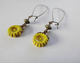 Sunflower Bead Earrings