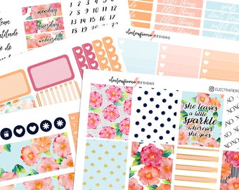 Kate Spade - Planner Stickers for Erin Condren & Happy Planner | floral polka dots functional