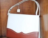 Sweet Savings Sale 1950-60's Classic Brick Red and Cream White Wing Tip Style Purse NOS by ZCMI