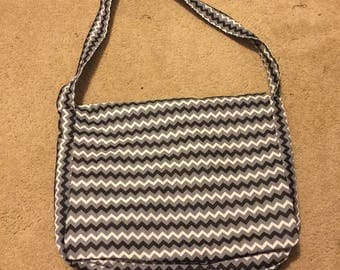 Black, Gray  and White Chevron Messenger Bag