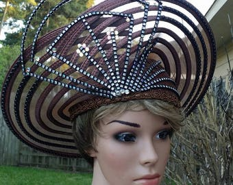 Very Unique brown church Hat by J.F.Y Collection
