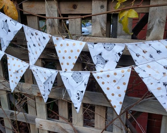 Bunting, flags, garland or banner - gold and white black and white woodland animals arrows