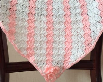 Baby blanket, Crochet, pattern, white, pink, washable. FREEPOST UK
