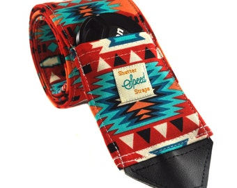 DSLR Camera Strap with Lens Pocket - The Southwestern in Red