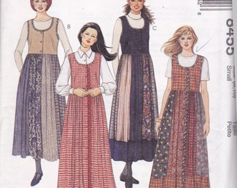 McCalls 8455 Womens Front Button Jumper with Gored Skirt in Variations  Size 8,10 UNCUT