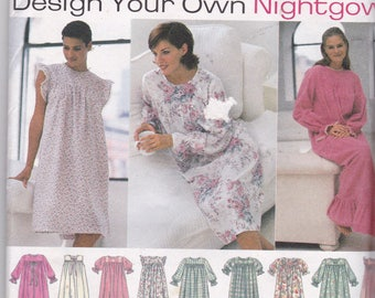 Simplicity 9289 Vintage Pattern Design Your Own Nightgown Size XS, Sm, Med UNCUT