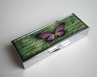 Pill box - Pill container - Mint case - Butterfly -  Art pill box - Gift idea - Asian art - Vintage pill box - Pill box butterfly