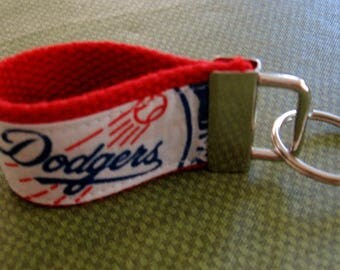 MLB Los Angeles Dodgers  Key Fob (Fingerlet) 1 1/4  inch Wide Cotton Webbing