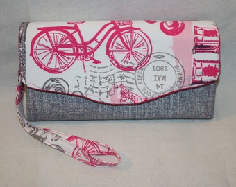 Bicycle in France - French Script Clutch Wallet