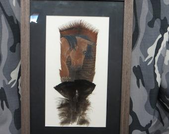 Beautiful buckskin horse hand painted on a smaller eastern wild turkey feather.