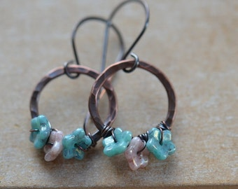 Handmade Copper Earrings with Pink and Blue Czech Flowers UK Seller