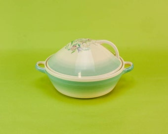 Pottery Vintage TUREEN Unique Floral Dinner Art Deco Medium Green Susie Cooper Domed Kitchen Dining English 1930s LS