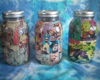comic book mason jar
