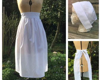 Adults White Apron and Bonnet / Mop Cap Maid, Puritan, Victorian Costume
