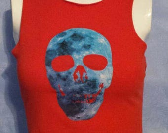 Red Orange Galaxy Skull Crop Top Tank Size Small