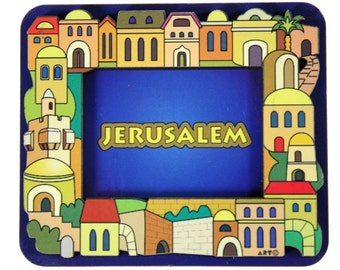 Judaica Magnet Wood Jerusalem Israel Multicolor 3D