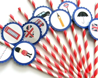 12 London Party Straws, London Birthday, England Party, British Flag, London Theme, Big Ben, First Birthday, London Party, Going Away Party