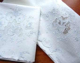 2 Vintage   pillowcases ,  linens , bedding , ivory  linens ,   pair of pillowcases  embroidered  pillowcases
