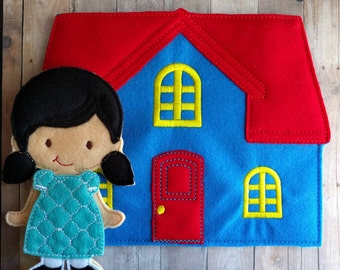 Felt Doll House, Blue, Red and Yellow, Embroidered Acrylic Felt with Back Storage Pocket, Stores Flat Dolls, Pretend Play, Unpaper Doll