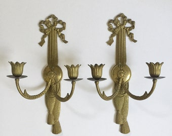 Vintage Pair of Hollywood Regency Brass Bow Candle Sconces