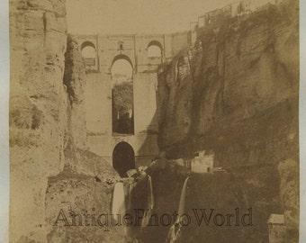 Spain aqueduct waterfalls antique albumen photo
