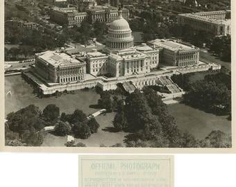 Washington DC Capitol Bldg antique aerial photo