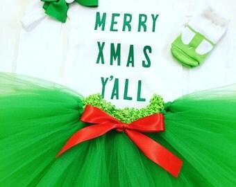 My First Xmas Tutu Set, My 1st Xmas Tutu Set, Holiday Green Tutu Set, Christmas Green Tutu Set, First Xmas Photo Outfit, Xmas Kid Shirt