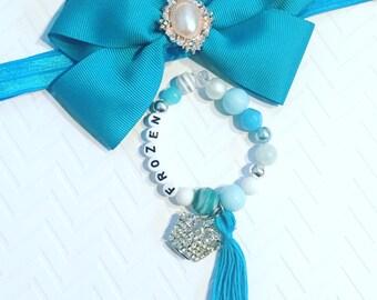 Girl's Tiara Beaded Bracelet, Princess Tiara Bracelet,  Kid's Tassel Bracelets, Girl's Charm Jewelry,Girl's Tassel Bracelet, Tassel Jewelry