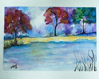 Abstract Watercolor Landscape Painting, forest painting, watercolor forest, watercolor art, woodland painting, landscape art tree art