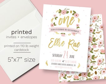 Glitter gold and pink floral Birthday Party Invitation PRINTED INVITATIONS flowers first birthday 1st birthday invite modern sparkle