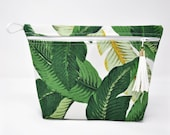 Banana Palm Vinyl Lined Makeup Bag or Wet Bag with Tassel Zipper Pull- Ready to Ship