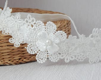 Baby lace tiara, hair band for baptism, christening, off white lace and pearl headband