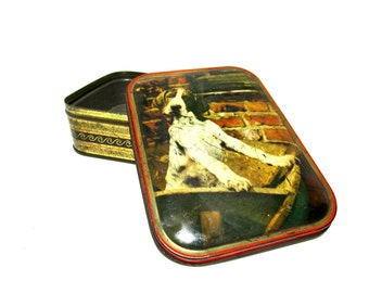 Vintage Tin, Setter Pointer Dog Tin, Made in England, Edward Sharp and Sons, Maidstone Kent