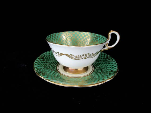 Tea Cup and Saucer Set, Aynsley of England,  Hand Painted, Green and Gold, Gift for Tea Cup Collector, English Bone China