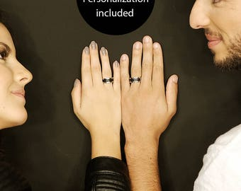 Couple ring Set of 2 Promise rings for couples Promise Rings His and Her Promise Rings Matching Promise Rings Couple Gift for Couple Jewelry