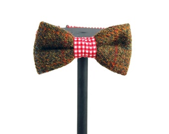 Harris Tweed Green Check Wool Bow Tie | Gifts for him  | Gifts for her | groom