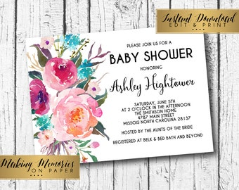 Instant bright pink Baby Shower Invitation, Instant download, editable graduation,editable invitation,Floral Invitation, Flower Invite,boho