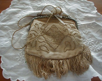 Old hand embroidered late 1800's or early 1900's purse.