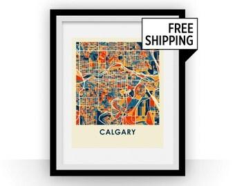 Calgary Map Print - Full Color Map Poster