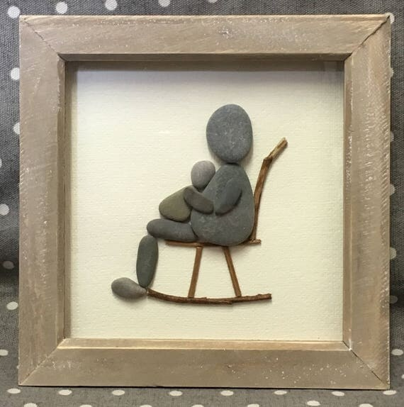 New Baby Pebble Art Framed Picture Rustic Home Decor Nursery Decor Unique Gift Stone Ooak