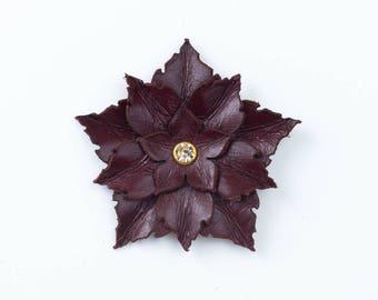 Leather Flower Brooch in Burgundy, Beige or Brown