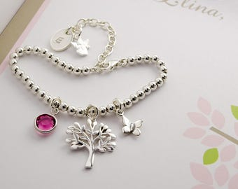 SILVER bracelet ball bracelet with initials, tree of life, butterfly, birthstone Angels