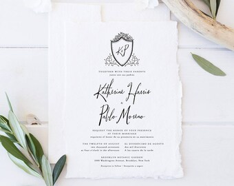 Bilingual Wedding Invitation Set,Printable Monochrome Wedding Suite,Simple Crest Invites,Formal Handwritten Monogram Minimalist Cards