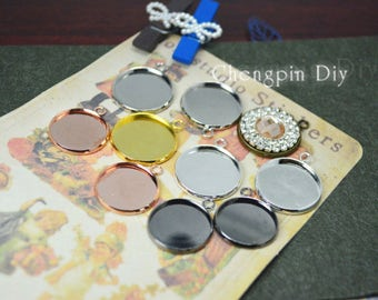 12mm Bezel Setting - Round Bezel Cups with one connector - Charms Bezels- Bezel Cabochon Setting