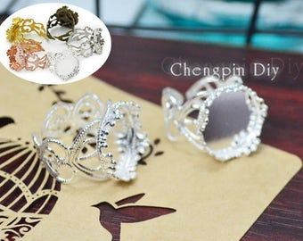 20pcs of 15mm Filigree Queen Round Bronze Ring Blank, Silver and Bronze Ring Base