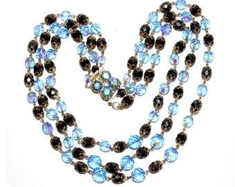 Vintage 3 Strand Necklace. Blue and Black Crystal Faceted Necklace. Crystal Necklace. Blue Aurora Borealis Cut Crystal 3 Strand Necklace